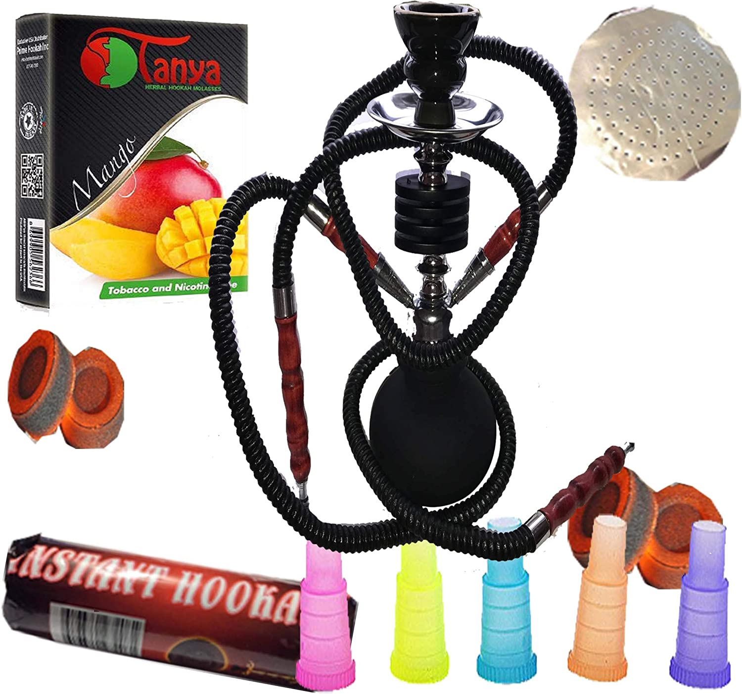 2 hose black hookah comes with favorite char tips mango Superior mouth flavor .5