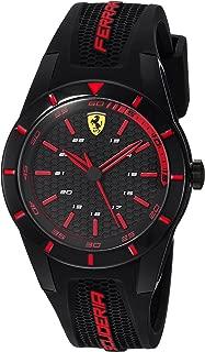 Ferrari Men's RedRev Stainless Steel Quartz Watch with Rubber Strap, Black, 19 (Model: 0840004)