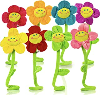 T PLAY Plush Flowers Colorful Stuffed Flowers Plush Toy Durable Plush Daisy Flower Bouquet with Bendable Stems Happy Smiley Face Daisies Sunflower Toys for Kids Baby Girl Room Decorations Gift (13