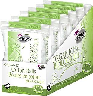 Sponsored Ad - Swisspers Organic 100% Natural Organic Cotton Balls, 80-Count Balls per Pack, 6 Packs (480 Balls Total)
