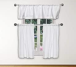 مجموعة ستائر Home Maison Miriam مخططة من الدانتيل لنافذة المطبخ الصغيرة، أو المقهى، أو الحمام، أو الغسيل أو غرفة النوم، مقاس 58 × 15 بوصة أبيض وفضي