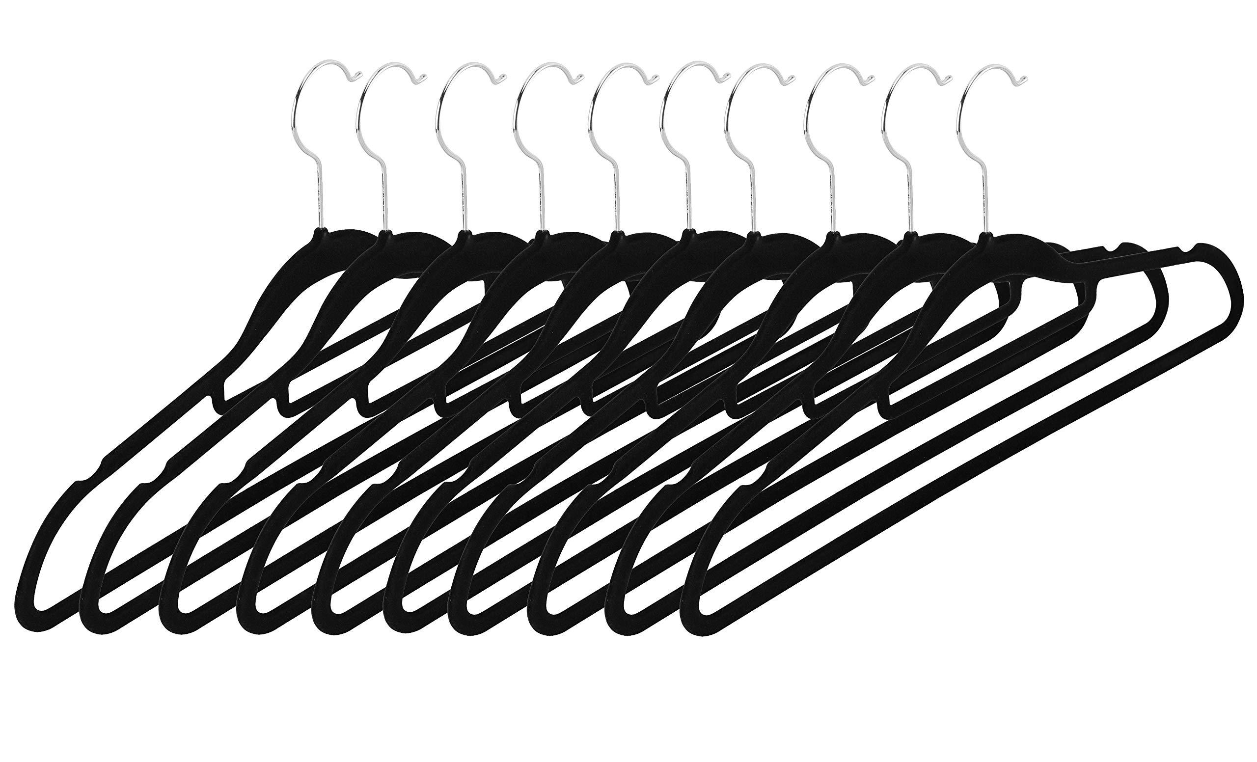 Intirilife Hosenb/ügel in MATT SCHWARZ 10 St/ück Hosenb/ügel aus Kunststoff und Metall f/ür R/öcke und Hosen Kleiderb/ügel Klemmb/ügel Rockb/ügel W/äscheb/ügel Rockspanner Hosenspanner