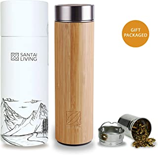 Bamboo Vacuum Insulated Bottle - Thermo with Tea Infuser & Strainer | BPA Free Stainless Steel Tumbler, Fruit Infuser | Double Walled Tumbler Water Bottle | Travel Mug