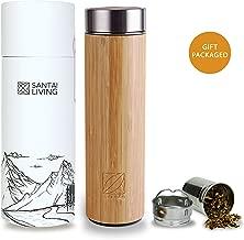 Termo para t/é de Vidrio de borosilicato con infusor de Acero Tapa de bamb/ú y Funda de Neopreno Gris Navaris Botella de Agua de Cristal 500ML