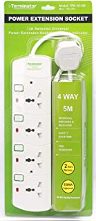 Terminator 4 way Universal Power Extension Socket, 5M 3X1.25MM2, White color body & cable with individual switch 13a Fused...
