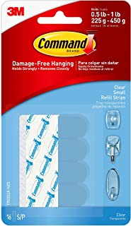 Command Small Clear Refill Strips, Sets of Strips 16 Strips 17022CLR-16ES 1