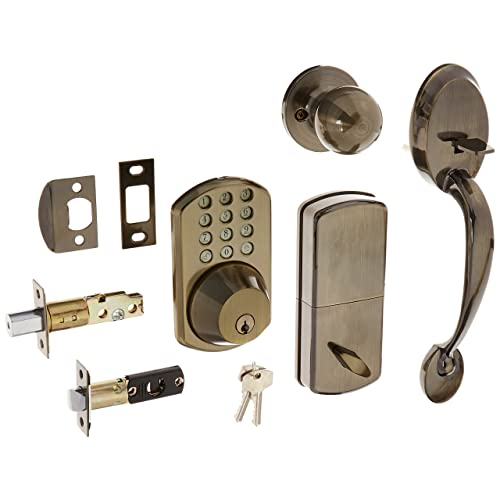 MiLocks BTF-02AQ Digital Deadbolt Door Lock and Passage Handle Set Combo with Keyless Entry via Keypad Code for Exterior Doors, Antique Brass