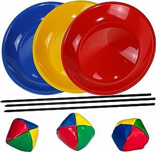 SchwabMarken 3 Platos de Malabares en Azul, Amarillo y Rojo