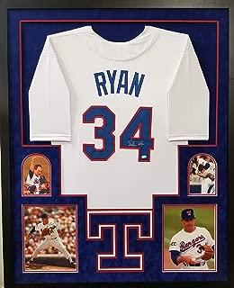 Nolan Ryan Texas Rangers Autograph Signed Custom Framed Jersey Suede Mat NRYAN Holo Certified