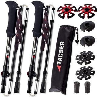 TAC9ER Ultralight Carbon Fiber Adjustable Trekking Poles with Straps - Foldable Collapsible Walking Sticks for Hiking, Ski...