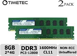Timetec Hynix IC 8GB Kit (2x4GB) DDR3L 1600MHz PC3-12800 Unbuffered Non-ECC 1.35V CL11 2Rx8 Dual Rank 240 Pin UDIMM Pc sobremesa Memoria principal Module Upgrade (8GB Kit (2x4GB))