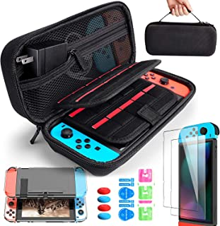 BANGTING 14 en 1 Kit de Accesorios Compatible con Nintendo Switch, 1PCS Funda de Transporte 1PCS Transparente Carcasa 2PCS...