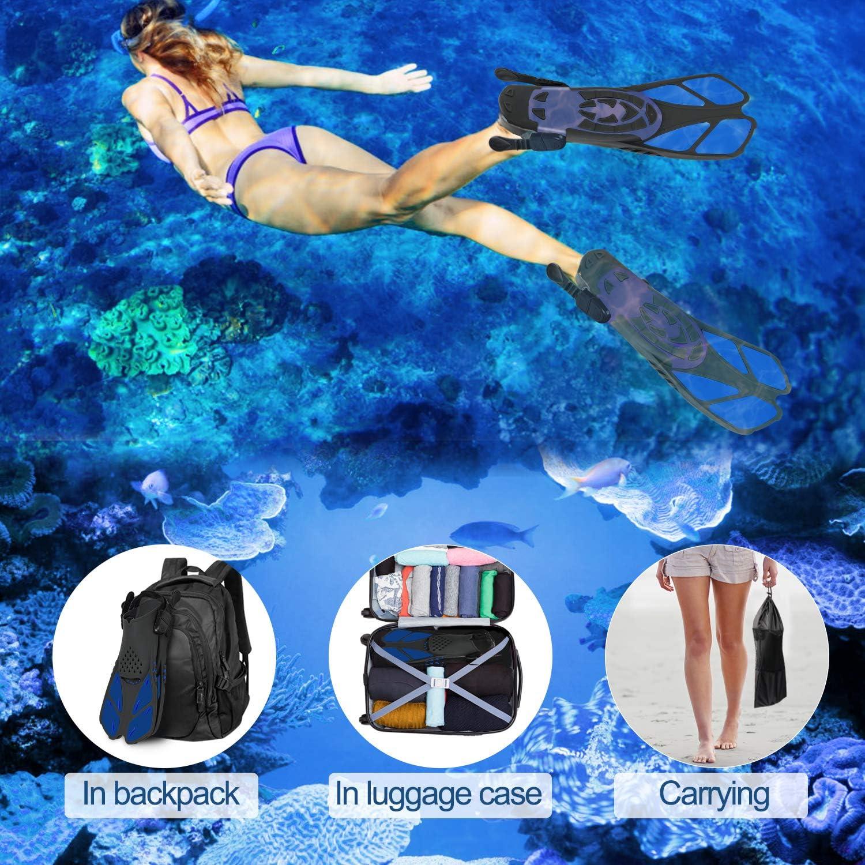 Verstellbare Flossen Kurze Schwimmflossen Unisex Tauchflossen f/ür Erwachsene zum Tauchen Schwimmen Schnorcheln Greatever Schnorchelflossen