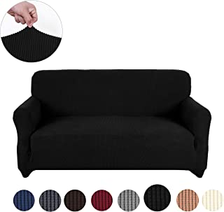 sancua Stretch Spandex Loveseat Slipcover Anti-Slip Sofa Cover 2 Seat Sofa Slipcover with Elastic Bottom for Living Room Furniture Protector Couch Cover for Dogs, Cats and Pets (Loveseat, Black)