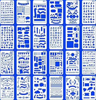 (Stencil-classic) - 24 PCS Bullet Notebook Journal Stencil Plastic Planner Set for Journaling Suppies/Diary/Scrapbook DIY ...
