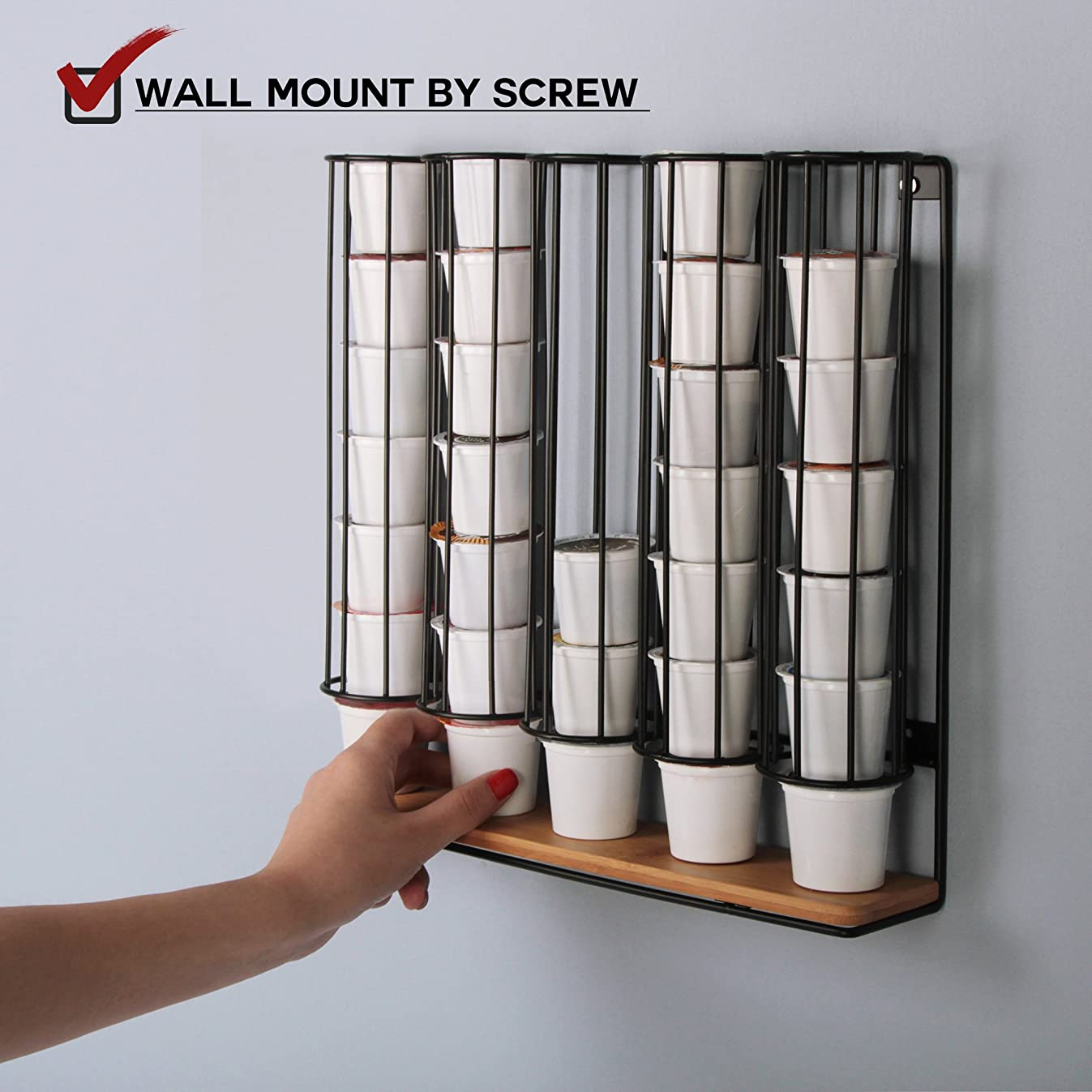JackCubeDesign Wall Mount Bamboo 35 K-Cup Dispenser Holder Organizer Stand Storage Box K Cup Holder Hanger with 5 Black Iron Compartments - :MK189C