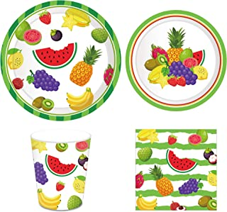 CC HOME Tutti Frutti Party Plates ,Summer Watermelon Birthday Party Supplies Pack-Serves 16 - Includes Plates,Cups and Napkins,Party Favor for Pineapple Theme,TWO-tti Fruity Theme,,Summer Hawaiian Tropical Fruity Themed Baby Shower,Birthday Party Supplies Decorations