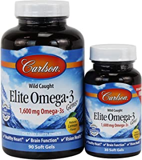 Carlson Elite Omega-3 Gems, Norwegian, 1,600 mg Omega-3s, 90 + 30 Soft Gels