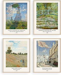 Claude Monet Artwork Fine Art Paintings Set of 4 - By Haus and Hues Water Lilies Claude Monet Monet Poster Famous Art prints Famous Paintings Modern Monet Monet Prints Monet Wall Art UNFRAMED (8