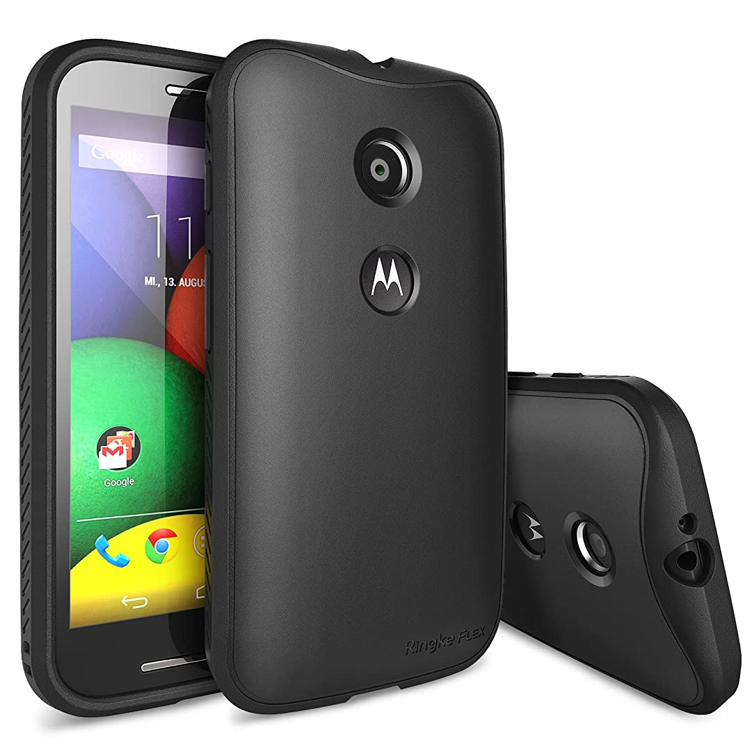Ringke Flex Compatible with Moto E 1st Gen Case Flexible & Strong TPU Case [HD Film][Black] for Motorola Moto E 1st Generation, 2014