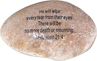 Extra Large Engraved Inspirational Scripture Biblical Natural Stones collection - Stone XI : Revelation 21:4 :