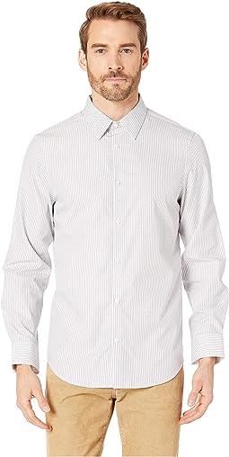 Long Sleeve French Placket Dobby Stripe Shirt