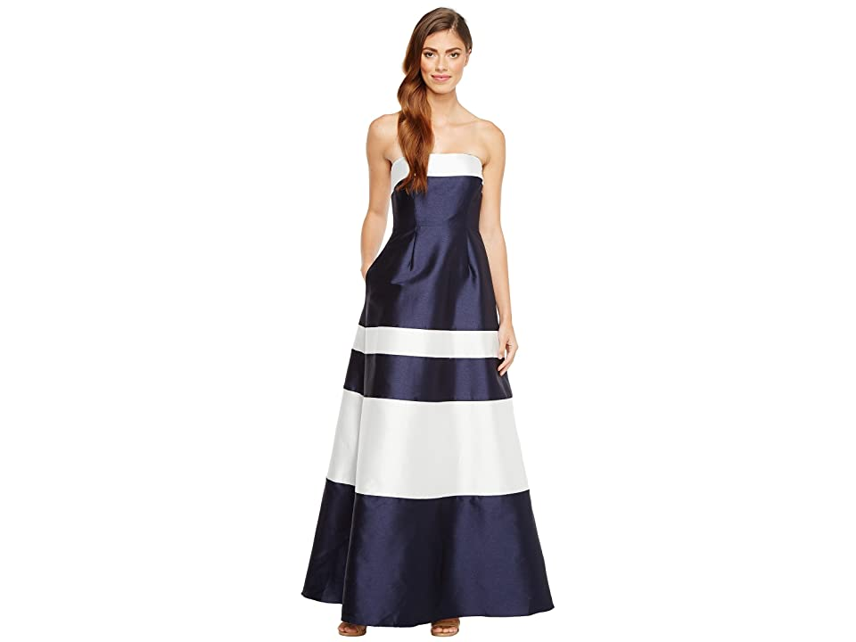 Adrianna Papell Iridescent Faille Ball Gown (Midnight/Ivory) Women