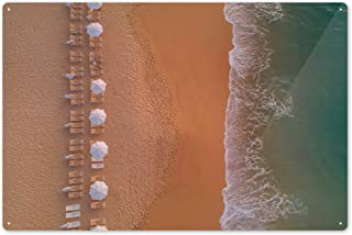 Lantern Press Beach Chairs on Shore - Aerial View 88215 (6x9 Aluminum Wall Sign, Wall Decor Ready to Hang)