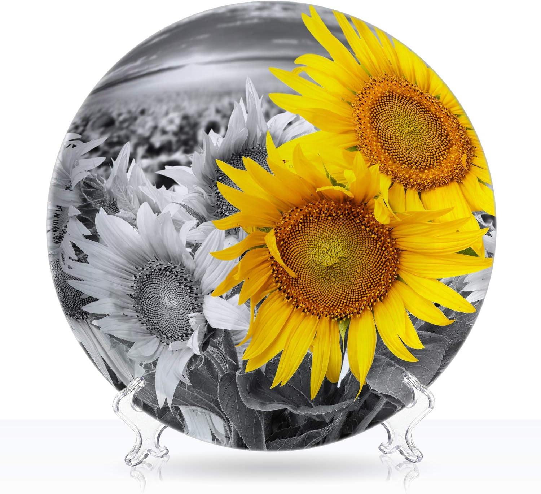 TiiMi Party White Plate Ceramic Tampa Mall Decorative Brand new Sunflower Set