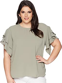 Vince Camuto Specialty Size - Plus Size Drop Shoulder Tiered Sleeve Textured Blouse