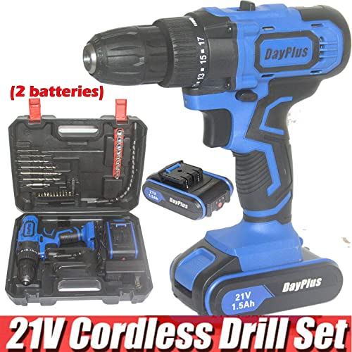 """wholesale Cordless Drill Driver Kit 21V Max with 2 Li-Ion Batteries 1.5AH and Fast Charger, 3/8"""" 2021 Metal Keyless Chuck, 45Nm Torque, popular 18+1 Clutch, 2 Speed Transmission, LED Light, Magnet, Tail Hammer, 29Pcs Bits online sale"""
