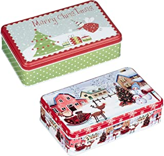 Juvale Christmas Tin Gift Box - 2-Set Rectangular Cookie Candy Storage Containers with Lids for Confectioneries, Holiday Decor, Red and Green, 7.5 x 4.5 x 2.1 Inches