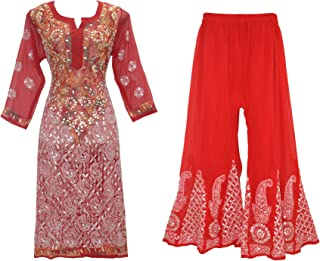 Indian Handicraft Standards Women Georgette Lucknow Chikan Kurti with Palazzo and Dupatta.