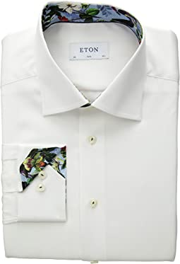 Slim Fit Solid Floral Cuff Detail Shirt