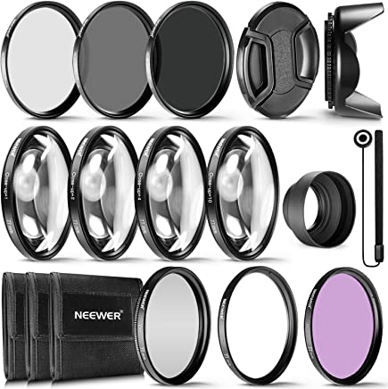 Neewer 完整镜头滤镜配件套件:UV CPL FLD 滤镜套装 + Macro 近似套装(+1 +2 +4 +10)+ ND 滤镜套装 (ND2 ND4 ND8) + 其他10089571 77MM 黑色