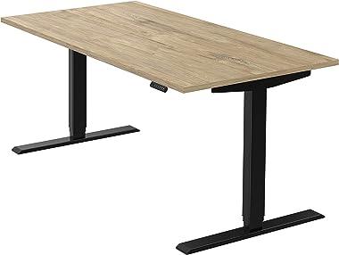 boho office® homedesk - elektrisch stufenlos höhenverstellbares Tischgestell in Schwarz mit Memoryfunktion, inkl. Tischplatte