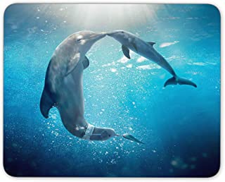 Dolphins Love in The Water Mouse pad, Natural Rubber Mouse Pad, Quality Creative Wrist-Protected Wristbands Personalized Desk, Mouse Pad (9.5 inch x 7.9 inch)