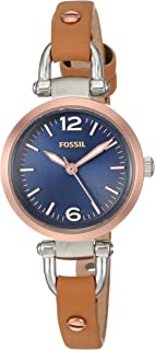 Fossil Women's Analog Quartz Watch With Leather Calfskin Strap Es4277, Brown Band