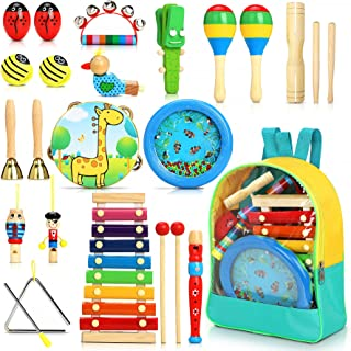 Jojoin 24pcs Instrument de Musique pour Enfant, Bois Percussion pour Bébé avec Ocean Wave Bead Drum, Xylophone, Triangle e...