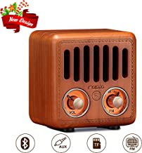 Retro Radio, Vintage Bluetooth Speaker, Greadio Walnut Wooden FM Radio with Bluetooth 4.2, Old Fashioned Classic Style, Good Bass Enhancement, Loud Volume, TF Card/AUX for Home, Office, Kitchen