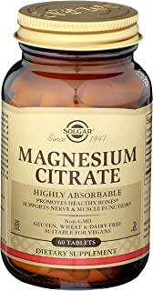 Solgar Magnesium Citrate, 60 Tablets - Promotes Healthy Bones, Supports Nerve & Muscle Function - Highly Absorbable - Non-...