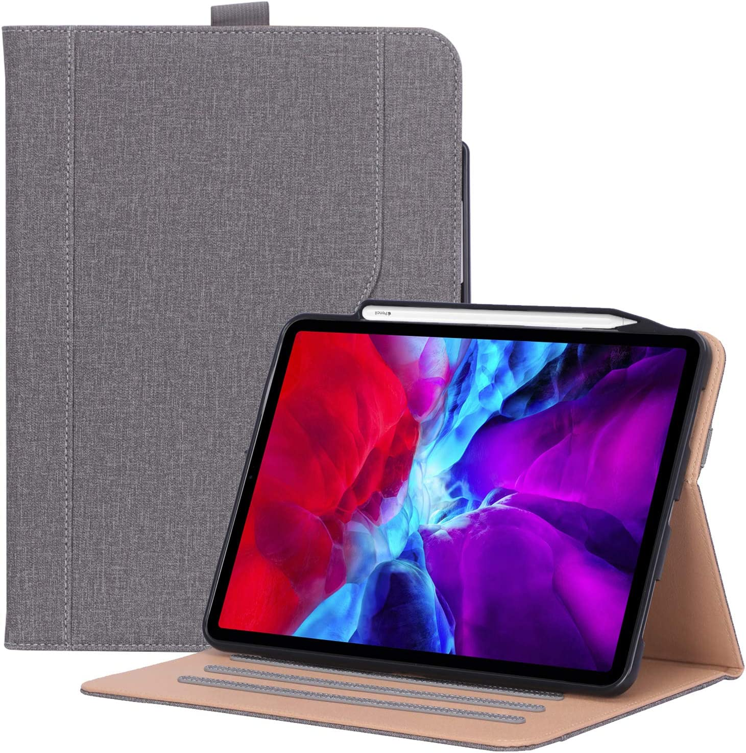ProCase iPad Pro 12.9 Case 4th Gen 2020 / 3rd Gen 2018, Leather Stand Folio Cover Case with Pencil Holder & Strap [Support Apple Pencil 2 Charging] for iPad Pro 12.9 4th Gen 2020 / 3rd Gen 2018 –Grey