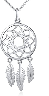 Inspirational Jewelry Sterling Silver Feather Dream Catcher Necklace for Women, Rolo Chain 18 Inches