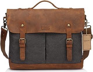 Canvas Messenger Bag,Leather Messenger Bag for Men and Women 15.6 inch Laptop Vintage Satchel Business Briefcase Shoulder Bag
