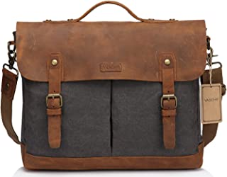 Canvas Messenger Bag,Leather Messenger Bag for Men and Women 15.6 inch Laptop Vintage Satchel Business Briefcase Shoulder Bag