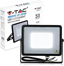 V-TAC 30W Waterproof Outdoor Security Floodlight with Samsung LED Black Body Grey Glass IP65 6400K White 2400 lumens, Die ...