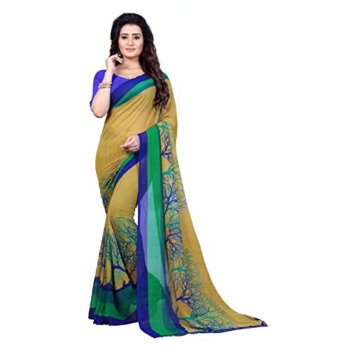 8558b90633 Anand Sarees Georgette Saree with Blouse Piece (1341_Multicoloured_Free  size)