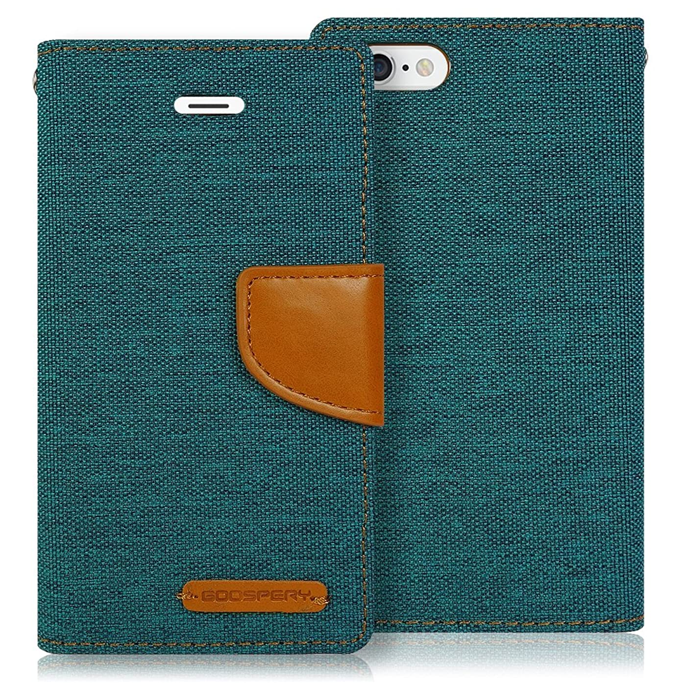 iPhone 6s Plus Case, [Drop Protection] GOOSPERY Canvas Diary [Denim Material] Wallet Case [ID Credit Card and Cash Slots] with Stand Flip Cover for Apple iPhone 6 Plus /6s Plus (Green) IP6P-CAN-GRN