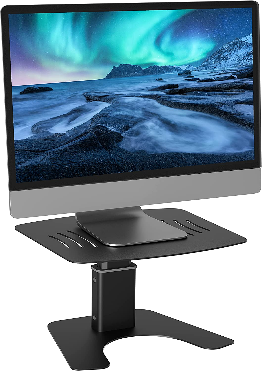 """Orionstar Monitor Stand Riser with Adjustable Height, Metal Computer Holder for Desk, Easy to Assemble, Office Desktop Storage Organizer, Compatible with TV, Laptop Up to 27""""PC Screen, Black"""