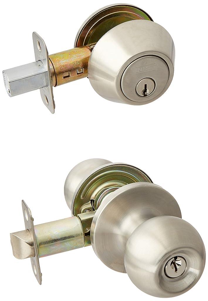 NU-Set 3 x (F-E-32D + 70032D) Fremont 3 Sets of Keyed Same Door Knob and Single Cylinder Deadbolt, Satin Stainless Steel